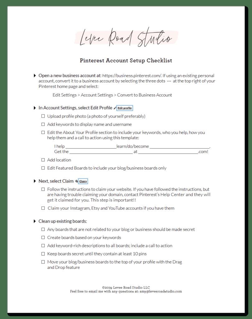 Pinterest for Business Account Setup Checklist - Free at leveeroadstudio.com!