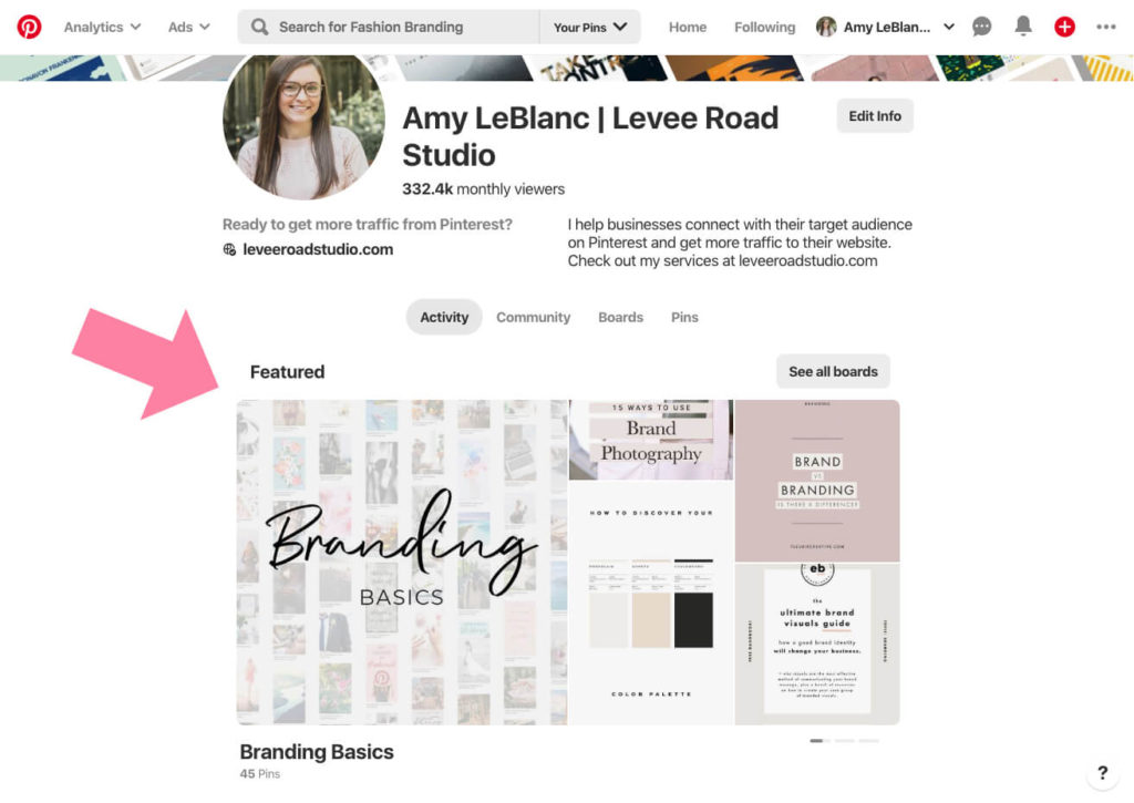 featured boards on pinterest business account set up