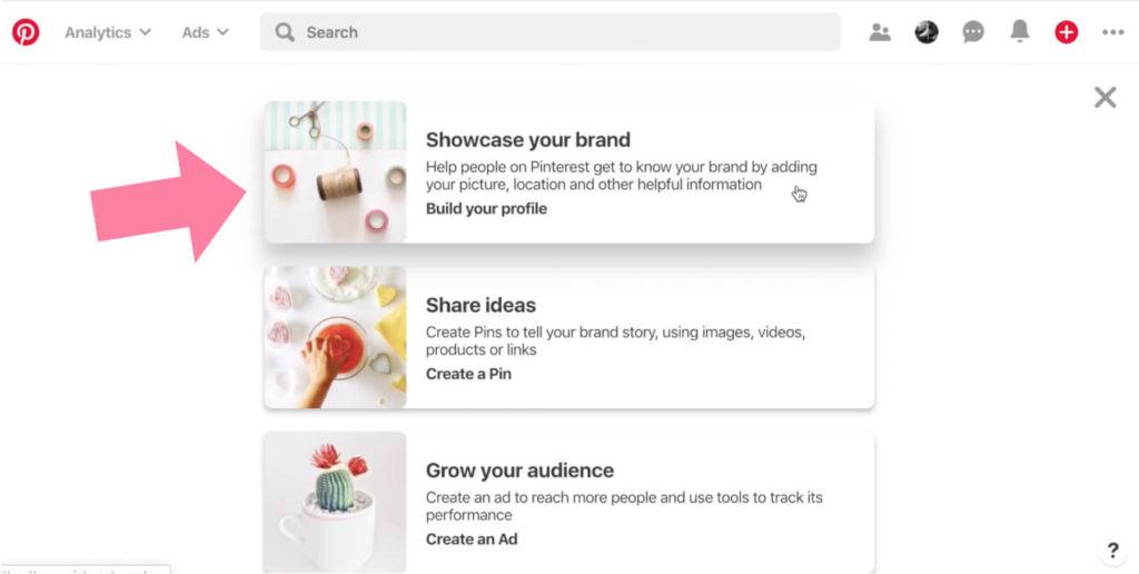 pinterest business account set up build your profile