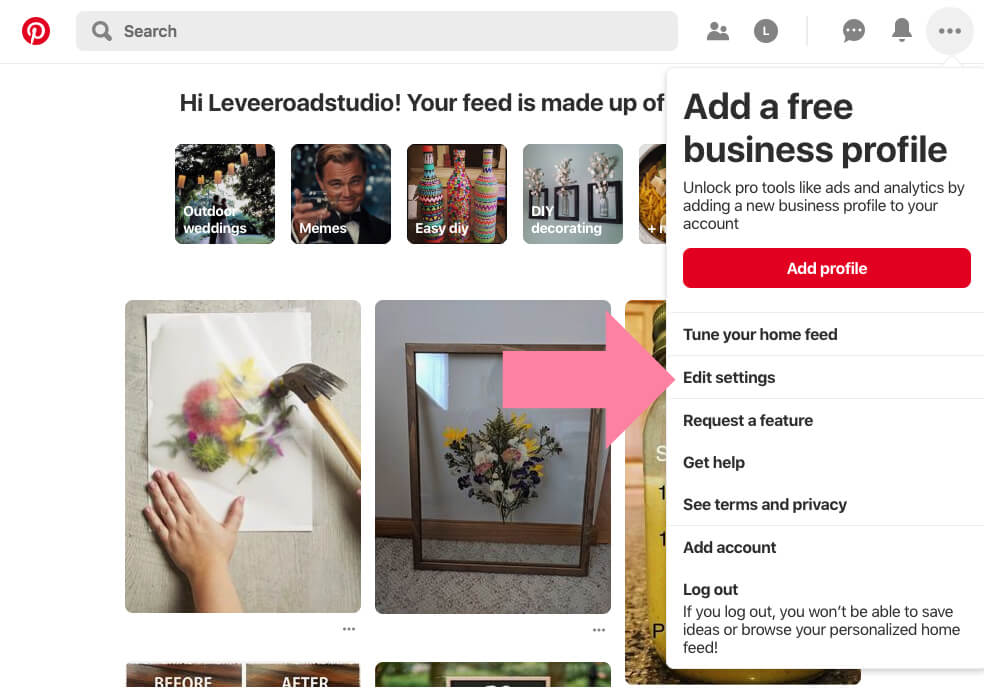 pinterest business account set up and conversion