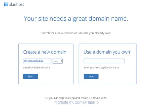 Choose a domain name - Bluehost account set up