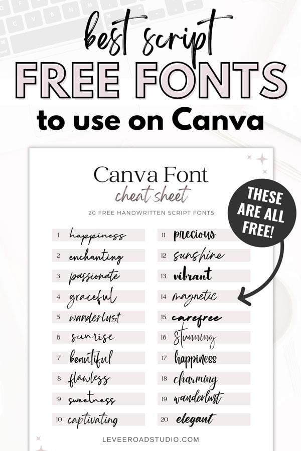 pinterest graphic best handwritten free fonts on canva