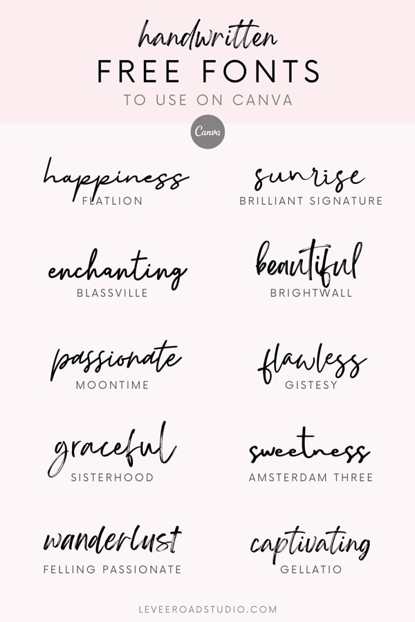 graphic of 10 best handwritten free fonts on canva with light pink background
