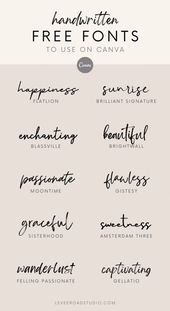 list of 10 best handwritten free fonts on canva with beige background