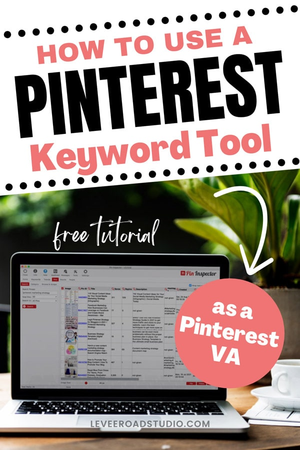 how to use a pinterest keyword tool as a pinterest VA with laptop on desk