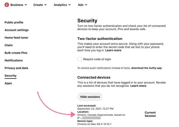 Security sessions in a Pinterest account settings
