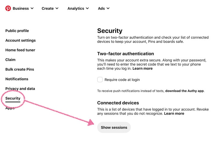 Security settings in a Pinterest account profile