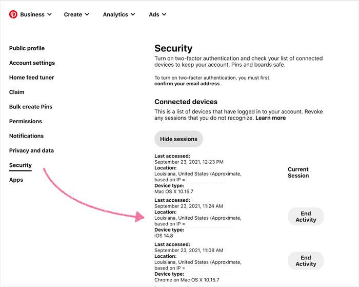 Pinterest log in tracking